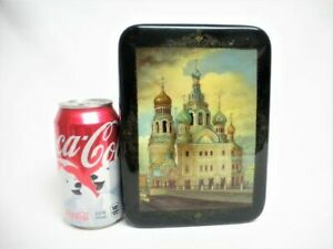 Lg Russian Black Lacquer Box Orthodox Church Building Signed Mint Hand Painted
