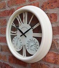Orologio da parete da giardino esterno Termometro Misuratore di umidità C&F 38cm Crema Colore 1176