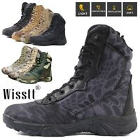 Mens Military Tactical Survival Ankle Boots Desert Combat Army Camo Hiking Shoes