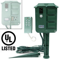 6 Outlet Outdoor Yard Grounded Power Stake Timer DawnDust Light Sensor UL LISTED