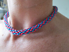 BLUE PINK  KUMIHIMO CHOKER/NECKLACE  BLUE COLOUR CLASP.  PRESENT. Handmade