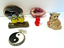 Collectible Lot Geode Statue Bird Figurine Yin Yang Drawer