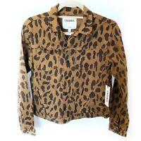 L' Agence Celine Spotted Animal Brown Black Denim Jacket Size Small New