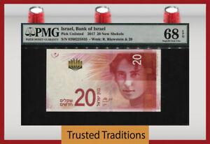 TT PK 65a 2017 ISRAEL BANK OF ISRAEL 20 NEW SHEKELS PMG 68 EPQ SUPERB GEM UNC!