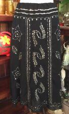 Festival Peasant Gypsy Tribal Hippy Black Layered Silver Sequin Skirt Sz 8