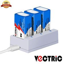 9V Rechargeable Li-ion Battery 800mAh VECTRIC 3 Packs with Smart Charger Lithium