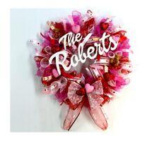Valentine Wreath, Valentine's Day Wreath,Deco Mesh Wreath, Personalized,Handmade