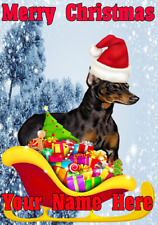GERMAN Pinscher BABBO NATALE SLITTA nnc216 Natale Xmas CARD A5 Personalizzate Auguri