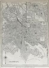1917 Original Antique Map of City of Baltimore with insert of Business District