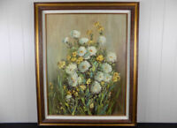 """Jean Tennison Daisies oil painting impressionistic floral still life 22"""" x 28"""""""