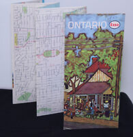 Vintage 1960s Road Map Esso Advertising Ontario Canada Lithograped Artwork