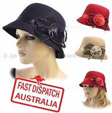 2e441161cbcde Wool Blend Cloche Ladies Great Gatsby 20s Bucket Flapper Party Felt Hat ROSE