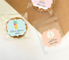 24 Tropical Beach Personalized Clear Candy Bags Bridal Shower Wedding Favors