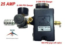 "25 AMP Air Compressor Pressure Switch 95-125 PSI 4 Ports 1/4"" Mini Regulator Set"