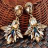 Design Hot Geometry Crystal Leaf Drop Flower Statement Dangle Stud Earrings TH