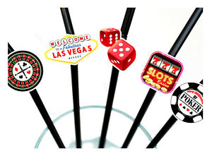 10 x Viva Las Vegas Party Straws - Biodegradable Casino Drinks Table Decoration