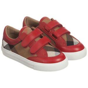 NIB NEW Burberry boys girls Mini Heacham red black beige check sneakers 17 (2)