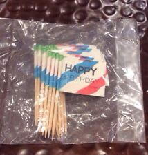 Lot Of 24 Vintage Birthday Cupcake Decorating Party Picks Toothpicks