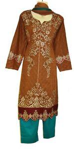 New Brown green Swiss Lawn Embroidery Dress Kurta Shalwar Kameez Suit Bollywood
