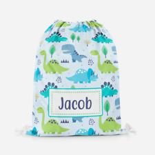 Personalised Dinosaur Blue Children's PE Swimming School Kids Drawstring Bag