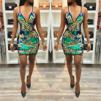 Women sexy Sequins Print Bodycon Clubwear Party Cocktail Evening Mini Dress