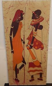 AFRICAN DANCER BATIK PAINTING SIGNED D.G KAMIM