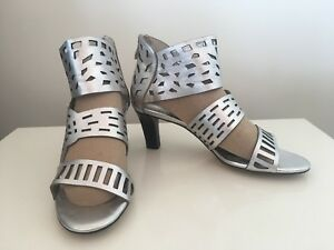 Top End Leather Sandals Heels Silver Size 37 New # 69 RRP $169.95