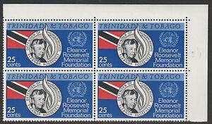 Trinidad 4675 - 1965 Eleanor Roosevelt 25c block with VARIETY  unmounted mint