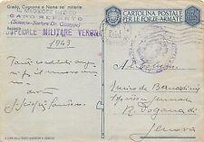 197) WW2, BOLLO OSPEDALE MILITARE DI VERONA SU FRANCHIGIA.