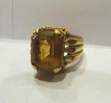 ancienne bague or massif 18 carats poincon epoque 1930 art deco ambre