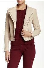 VINCE SAND SHELL ASYMMETRICAL LAMBSKIN LEATHER JACKET M $995