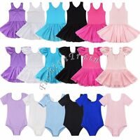 Kid Girls Gymnastics Ballet Dance Dress Leotard Ice Skating Tutu Skirts Costume
