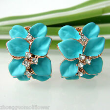 Navachi Blue Green Enamel Leaves 18K GP Crystal Omega Earrings BH2012
