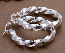 Stunning 925 Sterling Silver Filled SP Large Twist Hoop Huggie Earrings E-A465