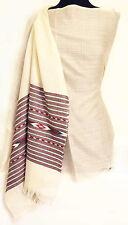 Handwoven Kullu Valley Wool Shawl  Ivory Traditional Craftsmanship Pashmina