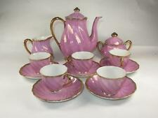 VINTAGE RETRO Foreign Bone China Tea Set Pink Fluted with Brushed Gilding 1950s
