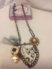 Plunder  Whitney Necklace NEW in box antique gold chain black charms