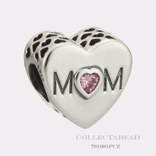 Authentic Pandora Sterling Silver Mother Heart Pink CZ Bead 791881PCZ