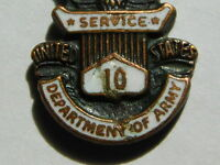 VINTAGE DEPARTMENT OF ARMY 10 YEAR SERVICE EAGLE PIN