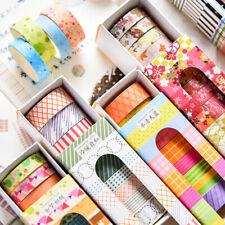 10Rolls Rainbow Washi Tape Adhesive Sticker Paper Masking Trimming Planner Diary