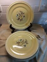 Harkerware Chesterton Yellow And Floral Pottery Dinner Plates Set 6