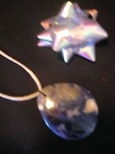 "Natural blue vein jasper gemstone pendant bead 18 1/2"" silk satin cord necklace"