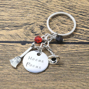 HOCUS POCUS CHARMS KEYRING KEY CHAIN HANDBAG CHARM BROOMSTICK WITCHES HAT SPELL