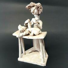 Dino Bencini Vintage Art Sculpture Figurine Veterinarian With Dog Signed