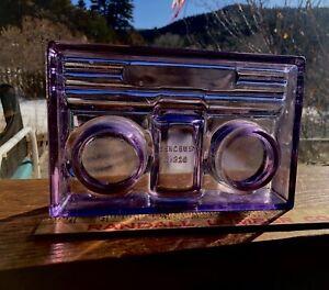ANTIQUE VINTAGE PURPLE AMETHYST GLASS SENCBUSCH NO.320  DUAL INKWELL DESK SET