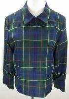 Vintage Pendleton Women's Tartan Plaid Full Zip Jacket 100% Virgin Wool Size 10
