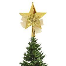Kraftz ® 15CM DECORAZIONE NATALIZIA 3D GOLDEN STAR, Bow & Fiore Albero TOPPER