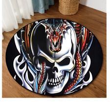 Skull guarded by dragon Rug Carpet 100 x 100CM mat
