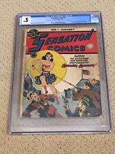 Sensation Comics 1 CGC .5 OW/W Pgs (1st Golden Age Wonder Woman Solo)- RARE #001