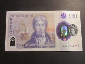 GREAT BRITAIN - BANK OF ENGLAND £20 TURNER - POLYMER- BD86 501290, BD PREFIX UNC